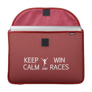 Keep Calm & Win Races custom color MacBook sleeve