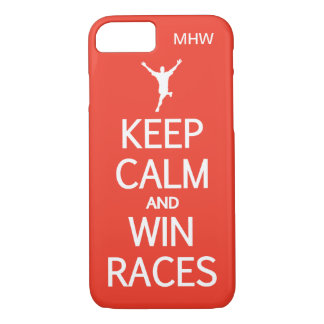 Keep Calm & Win Races custom monogram & color iPhone 8/7 Case