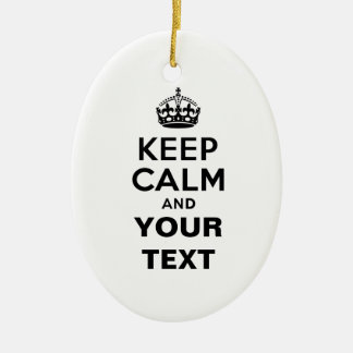 Keep Calm with Your Text Ceramic Oval Decoration