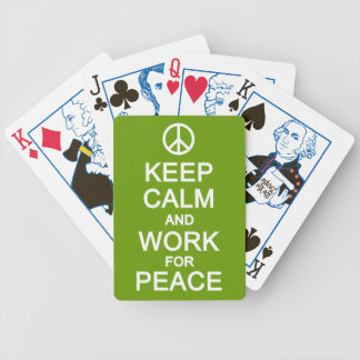 Keep Calm & Work for Peace playing cards