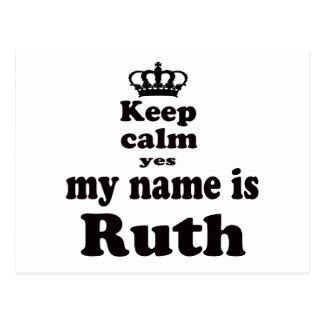 Keep Calm Yes My Name Is Ruth Postcard
