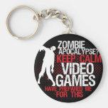 Keep Calm Zombie Apocalypse Funny Gamers Keychain