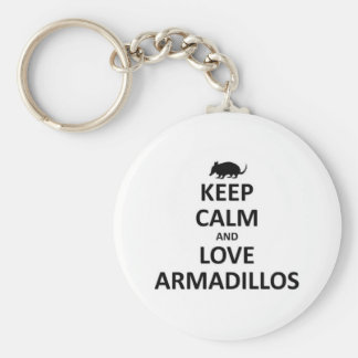 keep calma nd love Armadillos Basic Round Button Key Ring