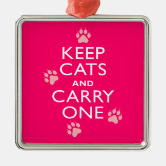 Keep Cats Silver-Colored Square Decoration