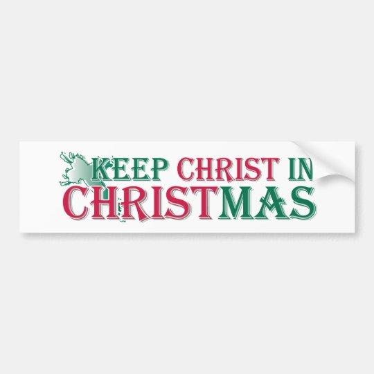 Keep Christ in Christmas - cross Bumper Sticker