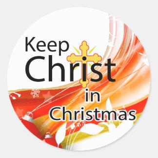 Keep Christ in Christmas, Swirl Round Sticker