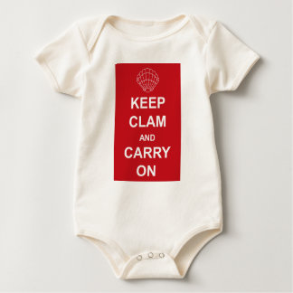 KEEP CLAM AND CARRY ON BABY BODYSUIT
