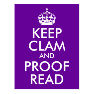 Keep Clam and Proof Read Postcard