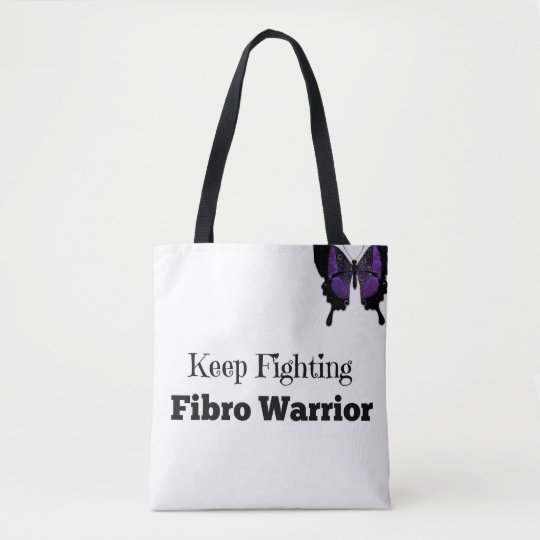 Keep Fighting Fibro Warrior Black Handle Tote