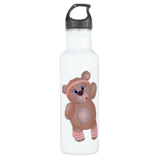 Keep Fit Aerobics Teddy Bear in Girly Pinks 710 Ml Water Bottle