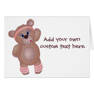 Keep Fit Aerobics Teddy Bear in Girly Pinks Greeting Card
