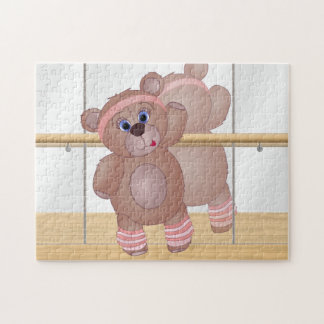 Keep Fit Aerobics Teddy Bear in Girly Pinks Jigsaw Puzzle