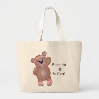 Keep Fit Aerobics Teddy Bear in Girly Pinks Large Tote Bag