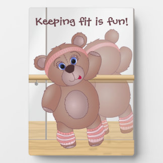 Keep Fit Aerobics Teddy Bear in Girly Pinks Plaque
