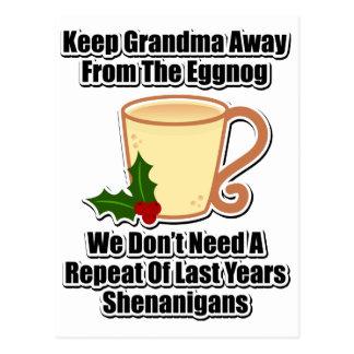 Keep Grandma Away From The Eggnog Postcard