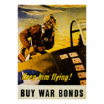 Keep Him Flying!  Buy War Bonds - Vintage WW2 Poster