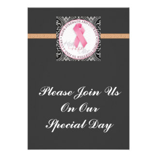 keep hope alive pink ribbon breast cancer personalized invitation