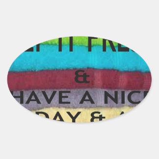 keep it freesh oval sticker