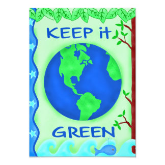 Keep It Green Save Earth Environment Art 13 Cm X 18 Cm Invitation Card