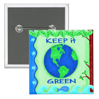 Keep It Green Save Earth Environment Art 15 Cm Square Badge