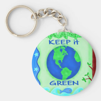 Keep It Green Save Earth Environment Art Basic Round Button Key Ring