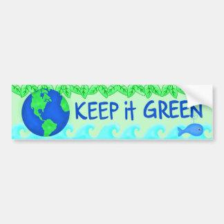 Keep It Green Save Earth Environment Art Bumper Sticker