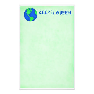 Keep It Green Save Earth Environment Art Stationery Paper