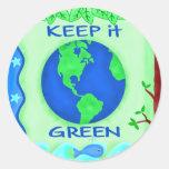 Keep It Green Save Earth Environment Art Round Sticker
