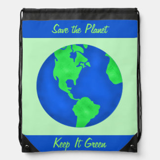 Keep It Green Save Planet Environment Art Custom Drawstring Bag
