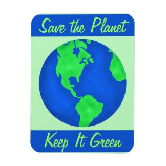Keep It Green Save Planet Environment Art Custom Rectangle Magnet