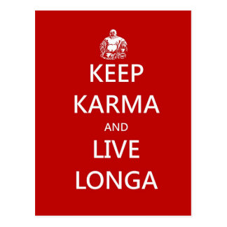 keep karma and live longa postcard