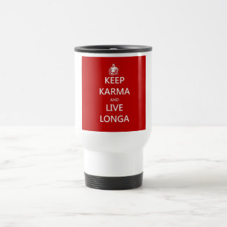 keep karma and live longa travel mug