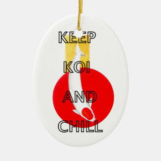 KEEP KOI AND CHILL CERAMIC OVAL DECORATION