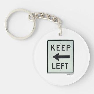 KEEP LEFT Double-Sided ROUND ACRYLIC KEY RING