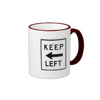 KEEP LEFT SIGN RINGER COFFEE MUG