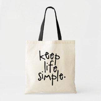 KEEP LIFE SIMPLE BUDGET TOTE BAG