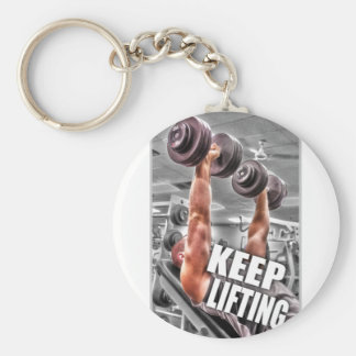 Keep Lifting Basic Round Button Key Ring