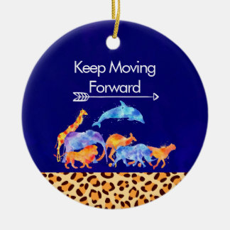 Keep Moving Forward Wild Animals Running Together Christmas Ornament