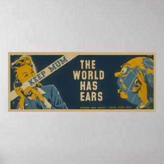 Keep Mum The World Has Ears Vintage WPA Poster