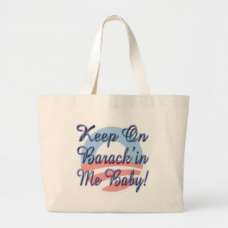 Keep On Barrack in Me Baby Logo Script Canvas Bag