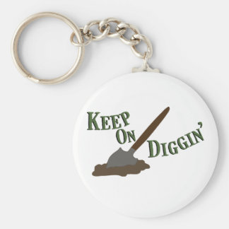 Keep on Diggin Basic Round Button Keychain