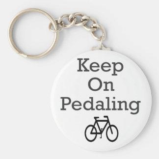 Keep On Pedaling Basic Round Button Key Ring