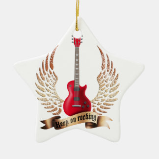 keep on rocking electric guitar wings christmas ornament