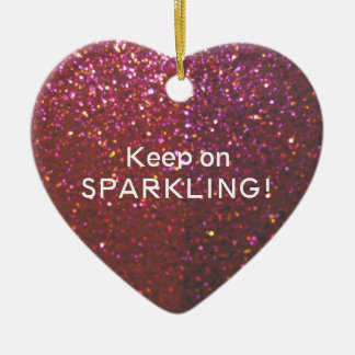 Keep on Sparkling - Glam faux glitter & sparkle Ceramic Heart Decoration