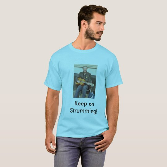 Keep on Strumming blue tee shirt for men