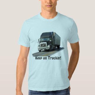 """""""Keep on Truckin'"""" Freight Truck Driver T-Shirt"""