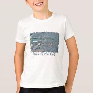 """""""Keep on Truckin'"""" Rainstorm Big Rig Truck Tshirt"""
