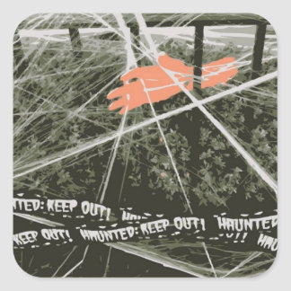 Keep Out Halloween Hand in Bushes Spooky Stickers
