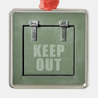 keep out metal door christmas ornament