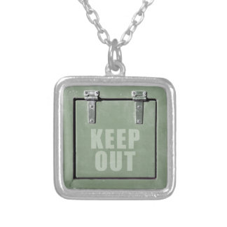 keep out metal door silver plated necklace